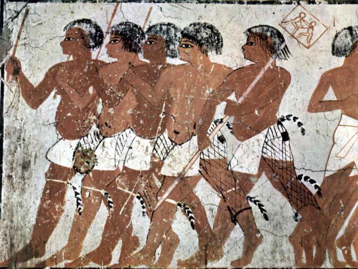 Фреска древнеегипетские воины